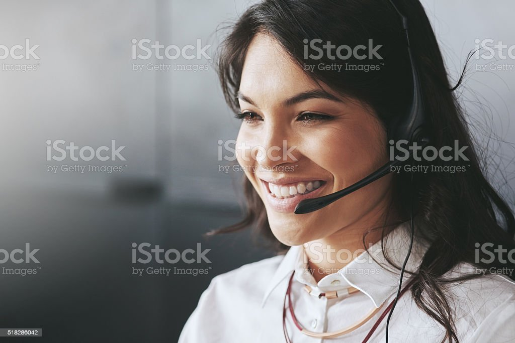She's your direct line to business solutions stock photo