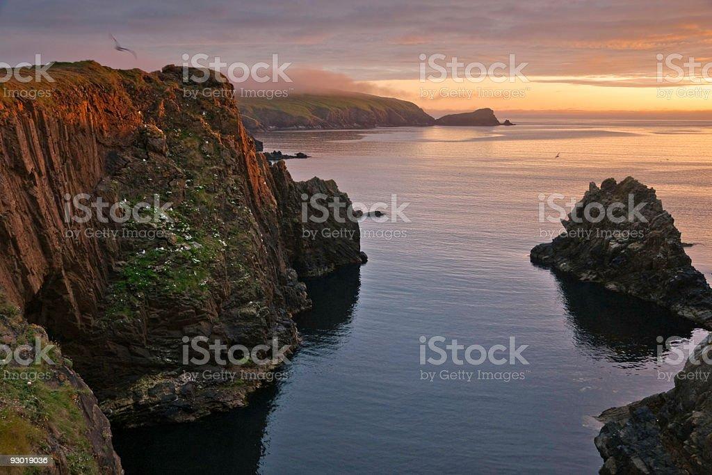 Shetland at sunset stock photo