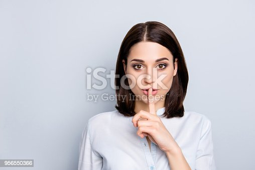 Shh shy sly people person modern concept. Close up portrait of cute lovely attractive uncertain unsure with stylish hairdo entrepreneur making hush gesture isolated on gray background copy-space