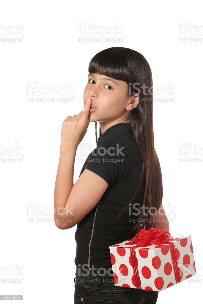 Einer Strickerei mit dem Schriftzug Shhh! Es ist eine Überraschung Lizenzfreies stock-foto