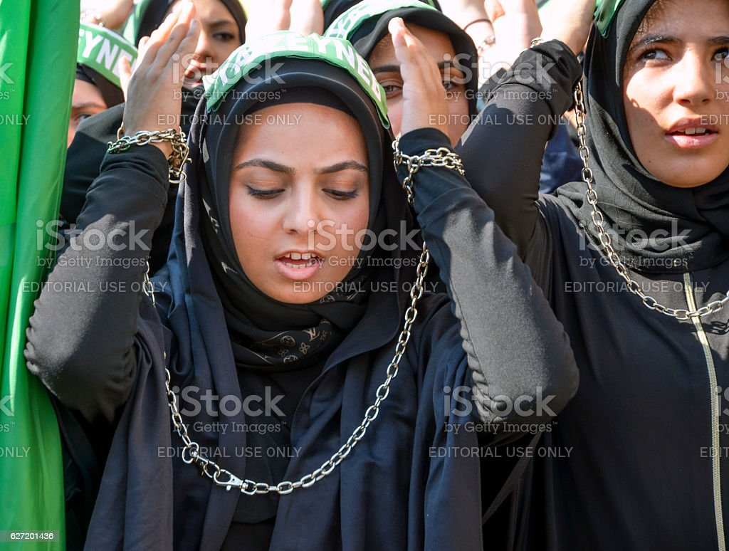 Shia Muslim women mourn during Ashura stock photo