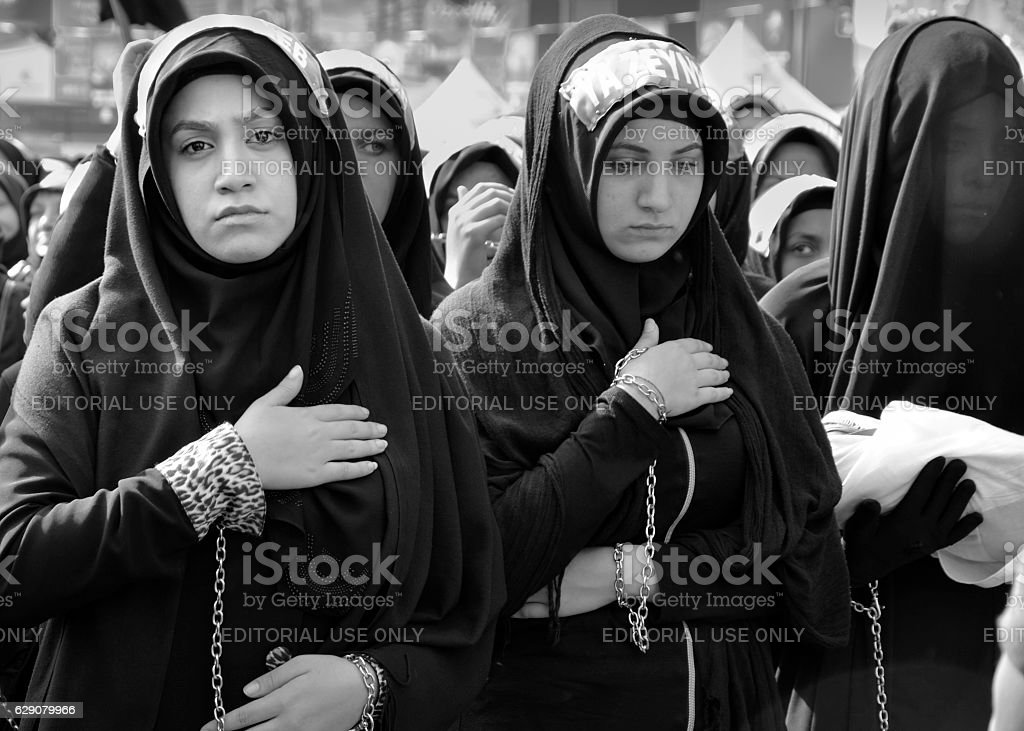 Shia Muslim women mourn during Ashura stock photo