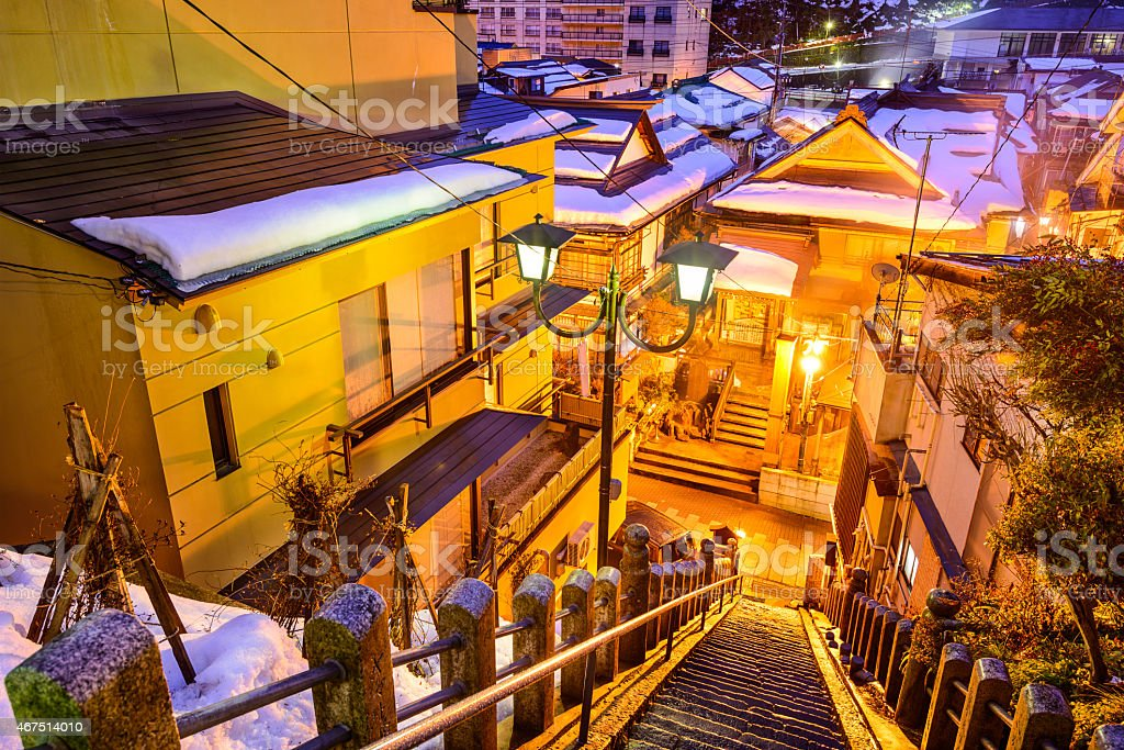 Shibu Onsen Alley Staircase stock photo