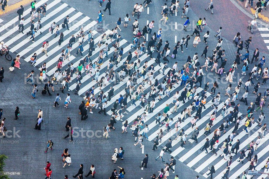 Shibuya-Kreuzung Luftaufnahme - Lizenzfrei 2015 Stock-Foto