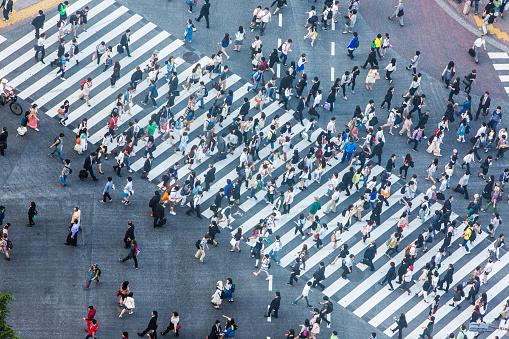 Shibuyakreuzung Luftaufnahme Stockfoto und mehr Bilder von 2015