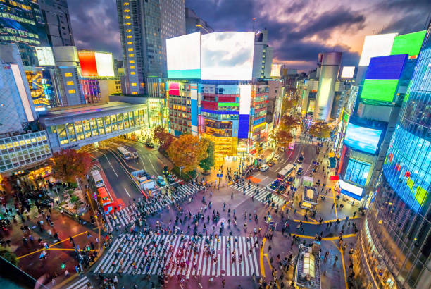 Shibuya Crossing from top view at twilight in Tokyo stock photo