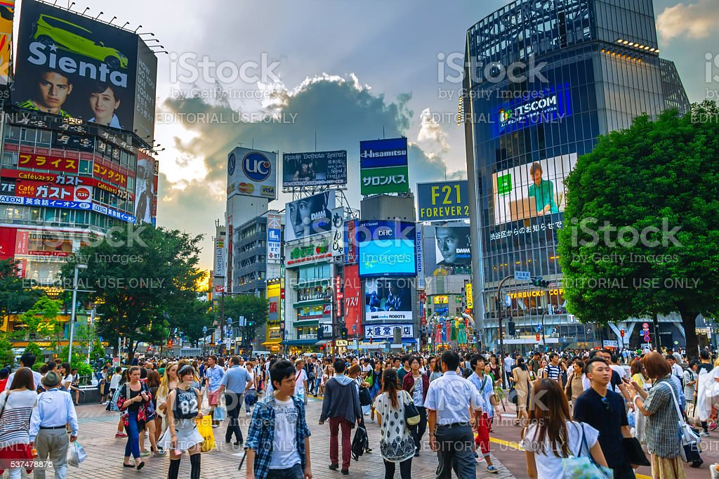 Shibuya Crossing, one of the busiest in the world, Tokio.Japan stock photo