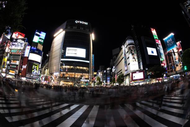 Shibuya Crossing through a fish-eye lens. stock photo