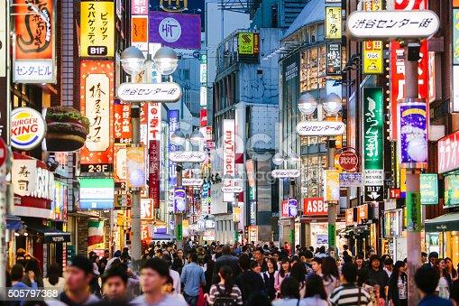 People walking in Shibuya  shopping district.