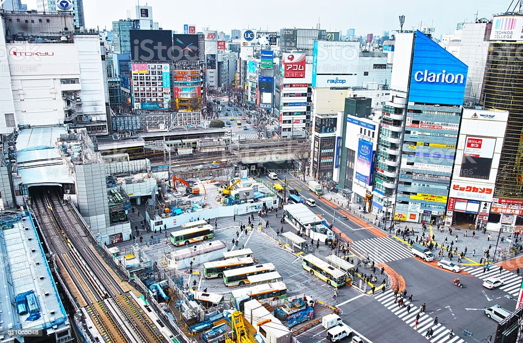Shibuya Station landscape stock photo