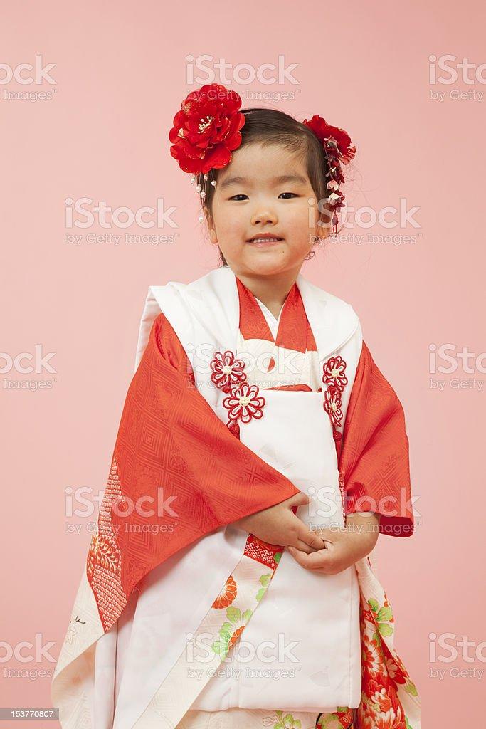 Shichi-go-san celebration girl portrait stock photo