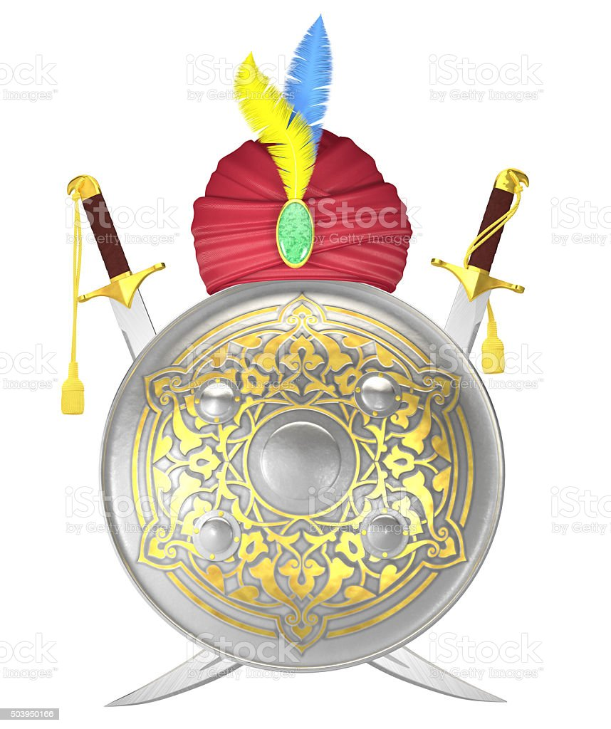 Shield and crossed scimitar swords with turban stock photo