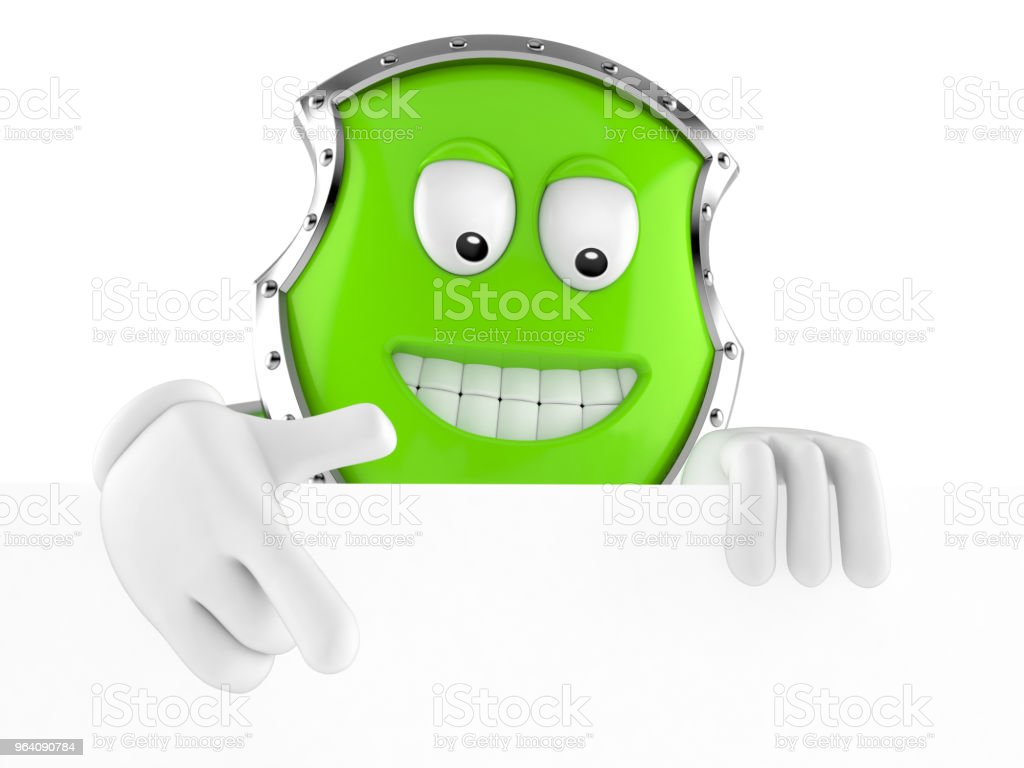 Shield character behind white board - Royalty-free Aiming Stock Photo
