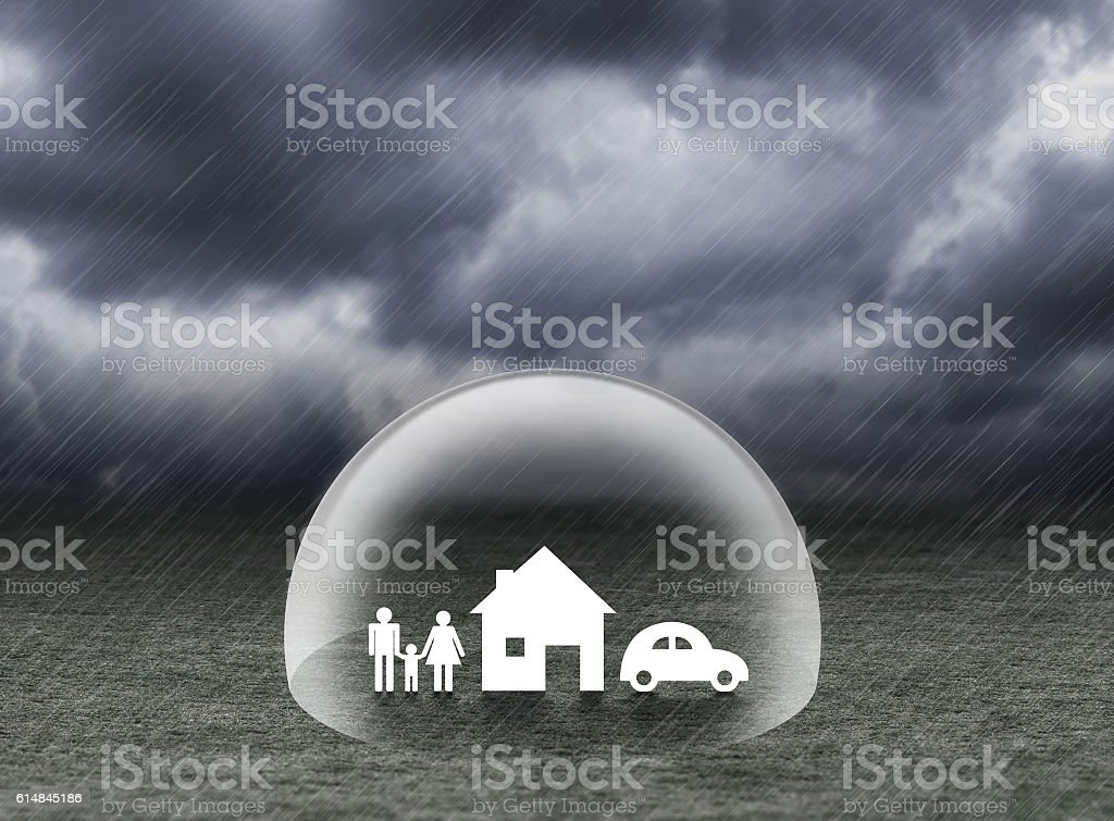 shield covering home,car and family under rain, insurance concept stock photo