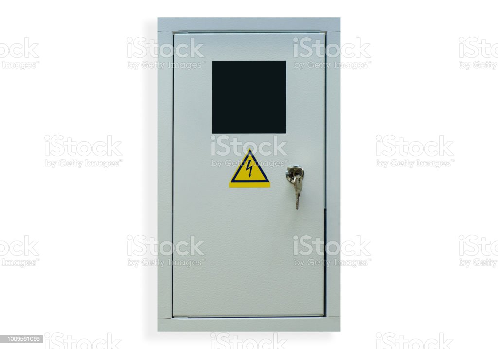Shield electric with key stock photo