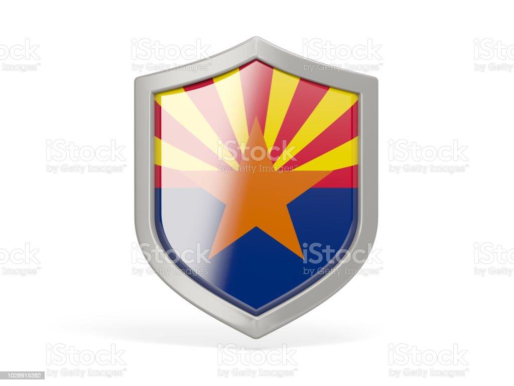 Ícone de escudo com a bandeira do arizona. Bandeiras de locais dos Estados Unidos - foto de acervo