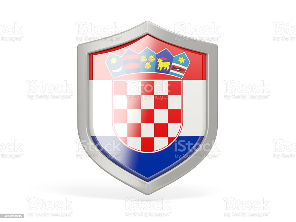 Shield icon with flag of croatia stock photo
