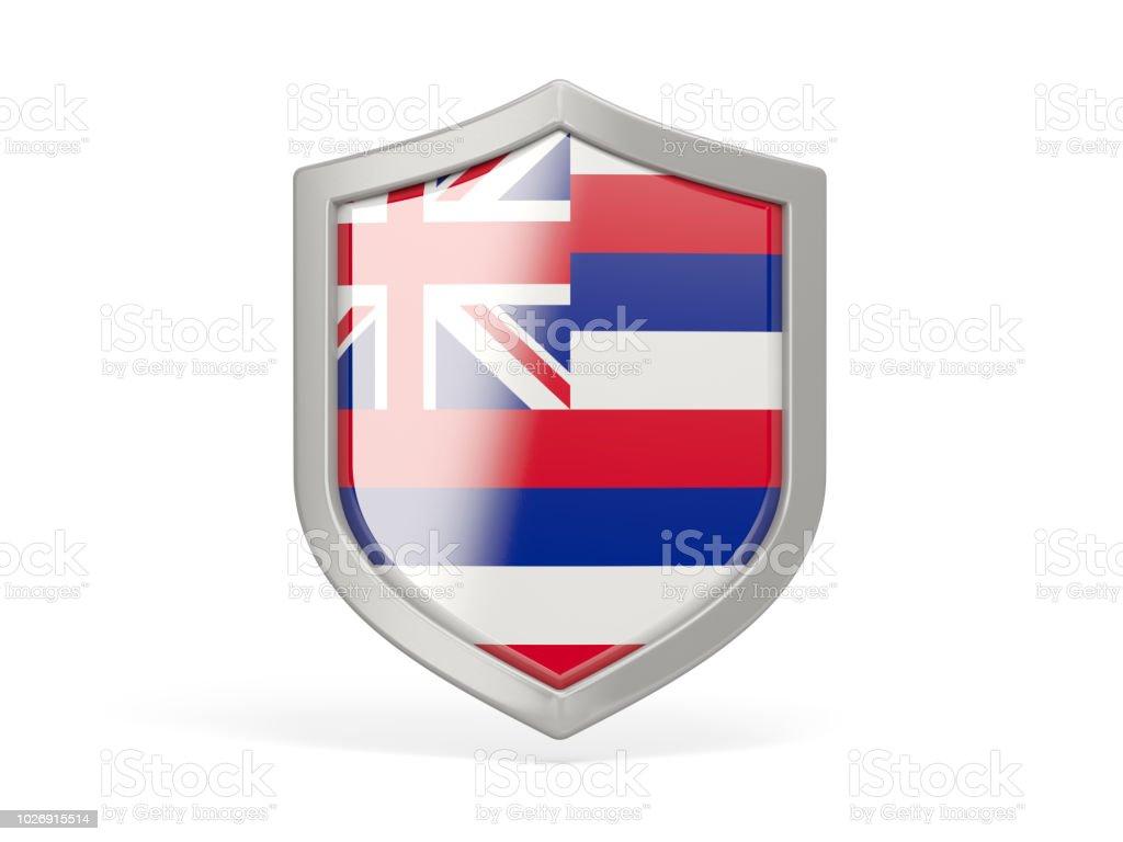 Ícone de escudo com a bandeira do Havaí. Bandeiras de locais dos Estados Unidos - foto de acervo