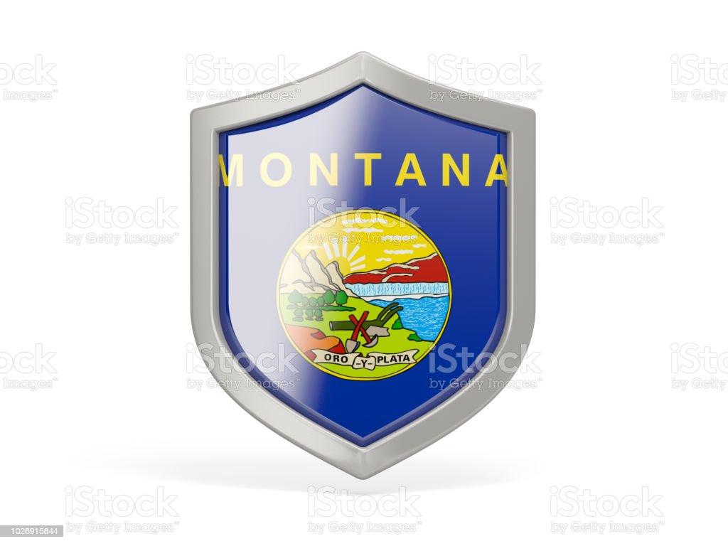 Ícone de escudo com a bandeira da montana. Bandeiras de locais dos Estados Unidos - foto de acervo