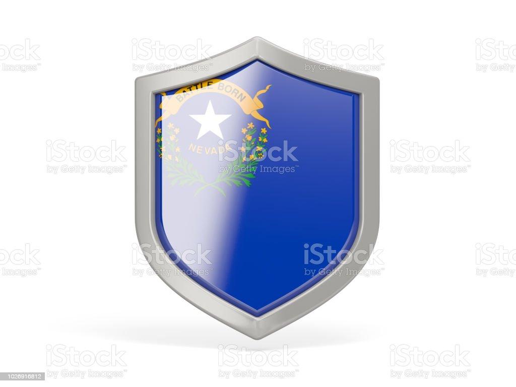 Ícone de escudo com a bandeira do nevada. Bandeiras de locais dos Estados Unidos - foto de acervo