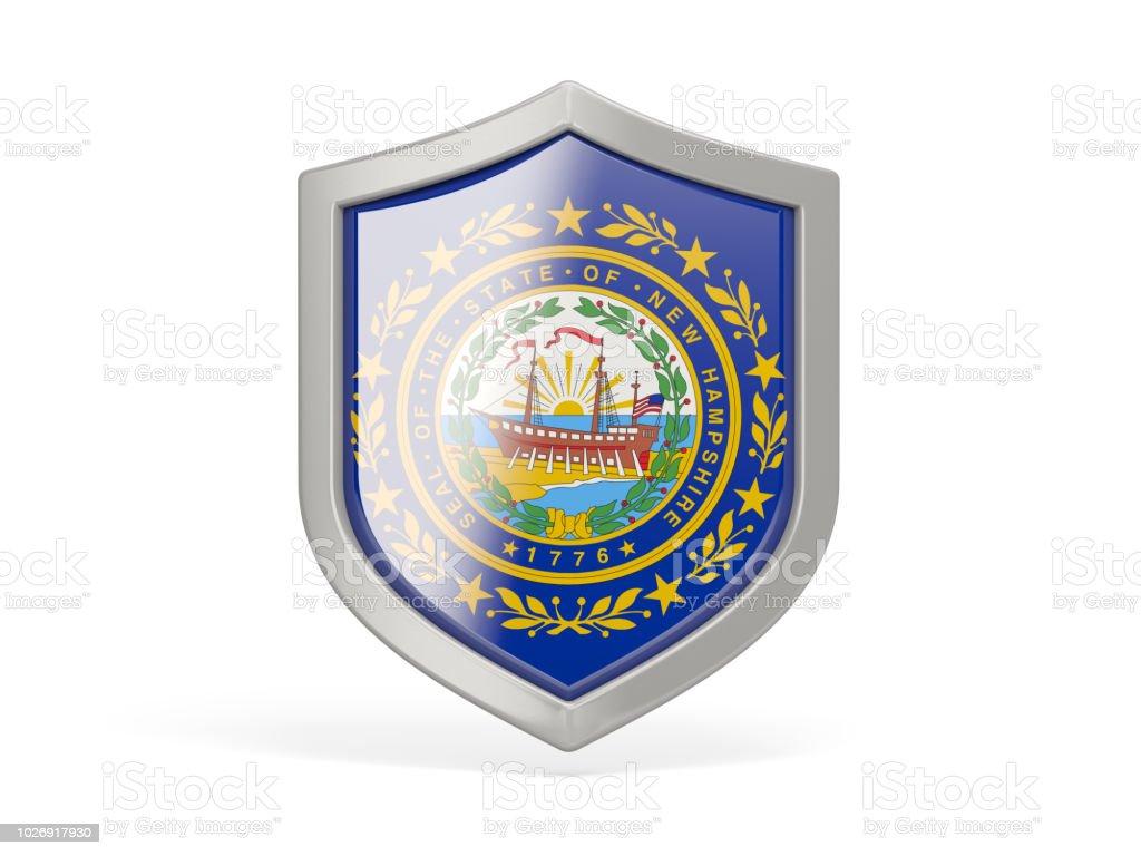 Ícone de escudo com a bandeira de new hampshire. Bandeiras de locais dos Estados Unidos - foto de acervo