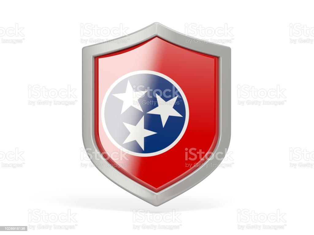 Ícone de escudo com a bandeira do tennessee. Bandeiras de locais dos Estados Unidos - foto de acervo