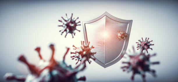 Shield protect from coronavirus COVID-19. stock photo