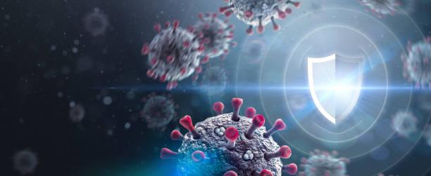 Shield Protecting from Coronavirus Attack stock photo