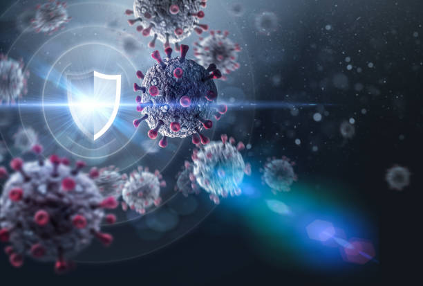 Shield Protecting from Viruses stock photo