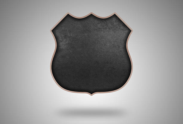 Shield Shape with Blackboard Pattern and soft Wooden Frame stock photo