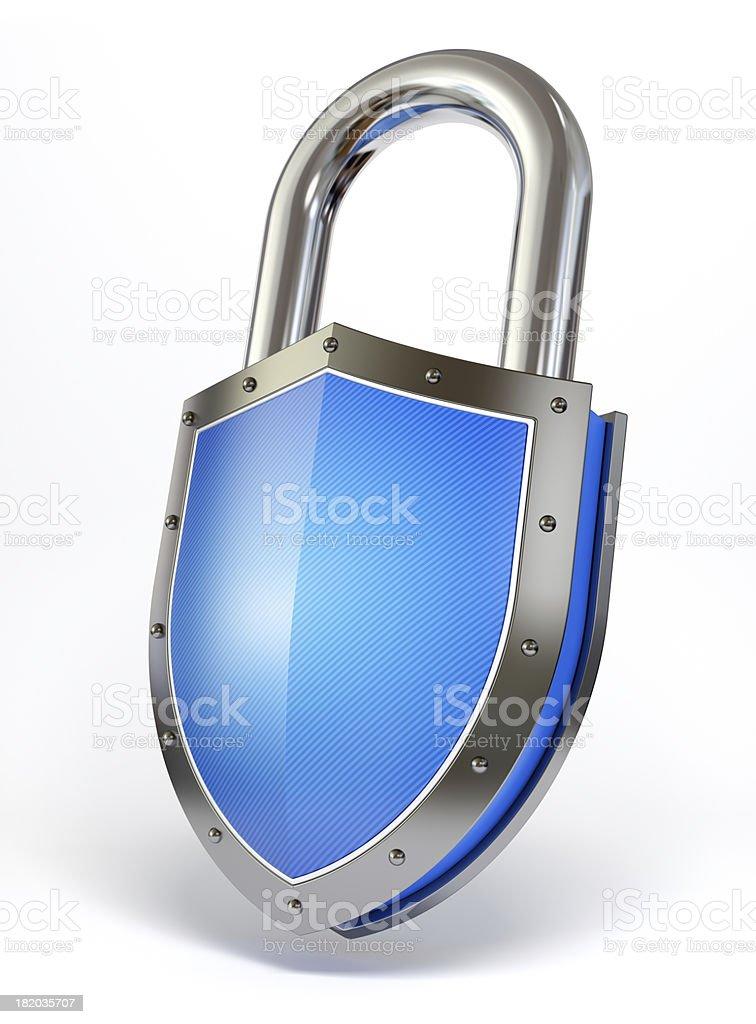 Shield shaped padlock royalty-free stock photo