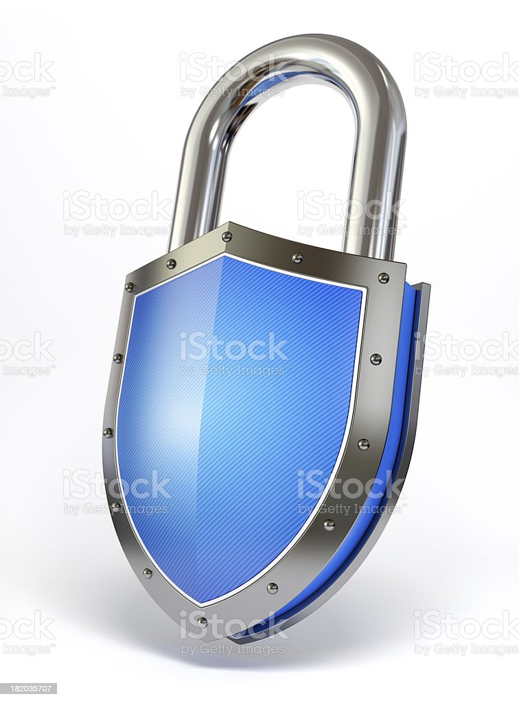 Shield shaped padlock stock photo