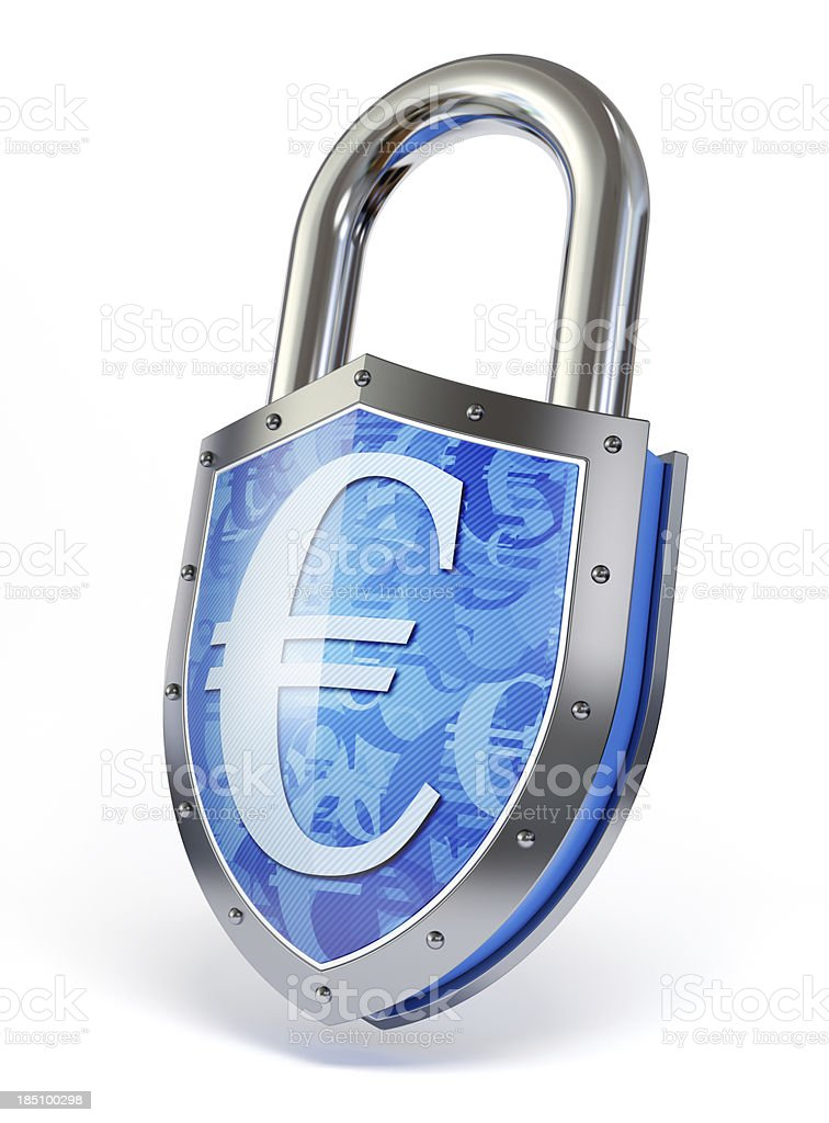 Shield shaped padlock with euro sign. royalty-free stock photo