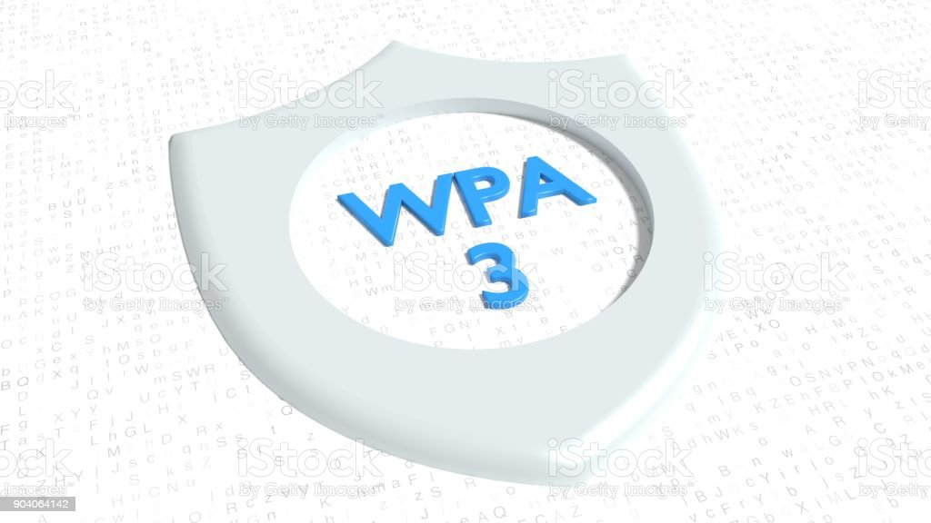 Shield symbol on random letter floor with a hole showing the blue text WPA3 stock photo
