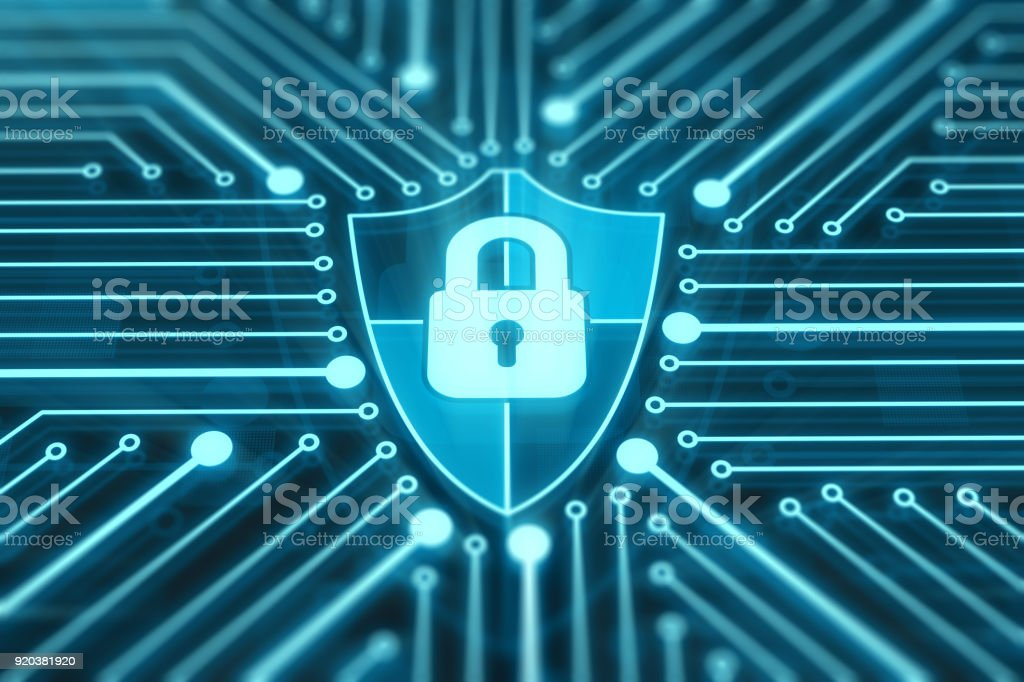 Shield with lock on digital display stock photo