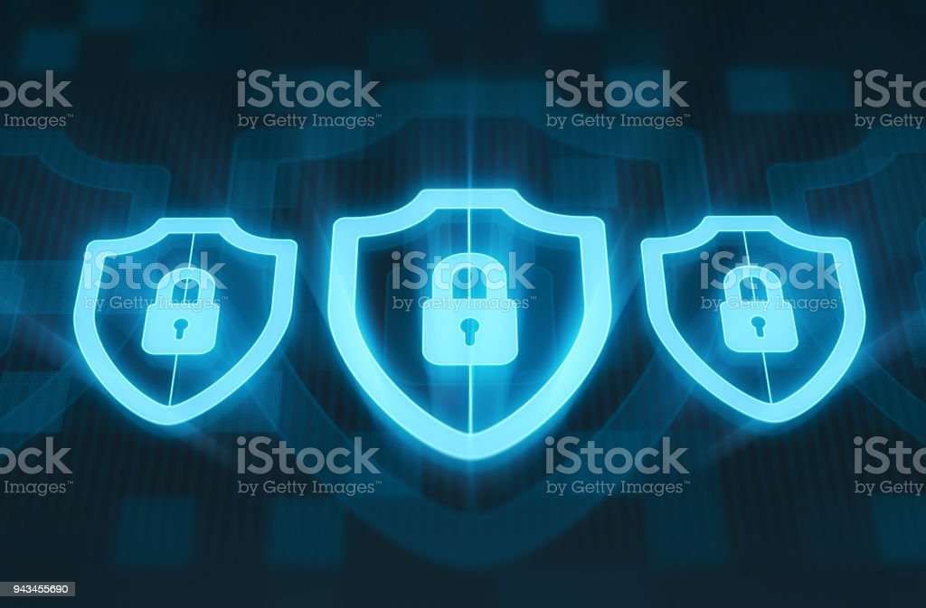 Shields and padlocks. Security concept stock photo
