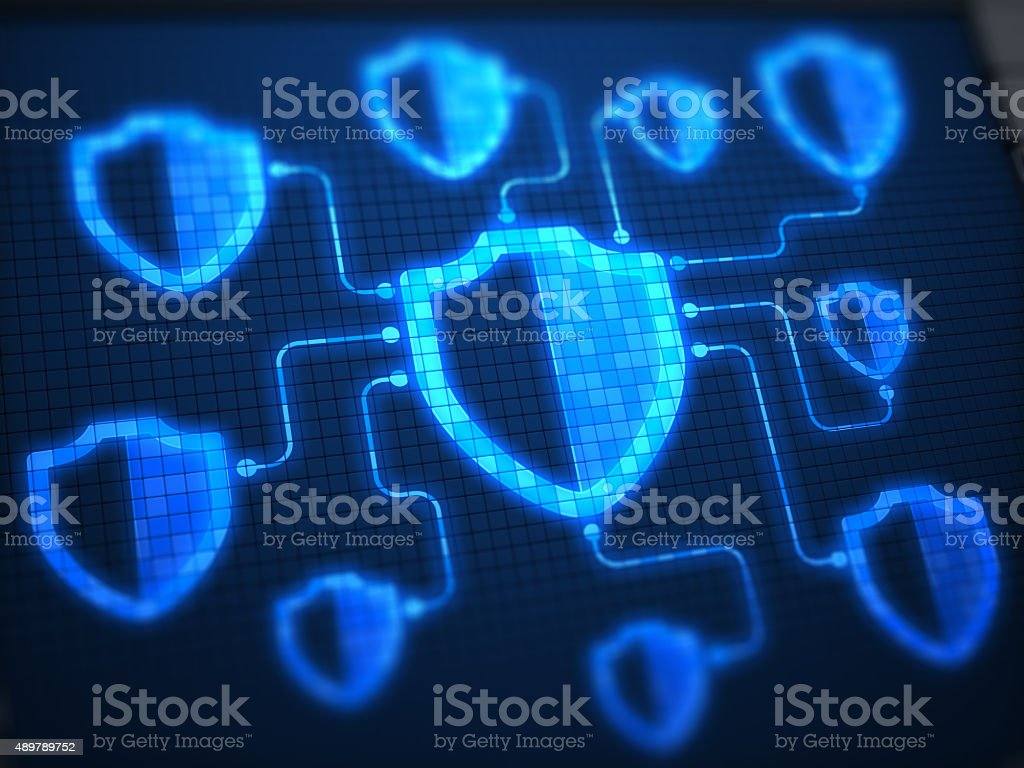 Shields Secure on digital screen stock photo