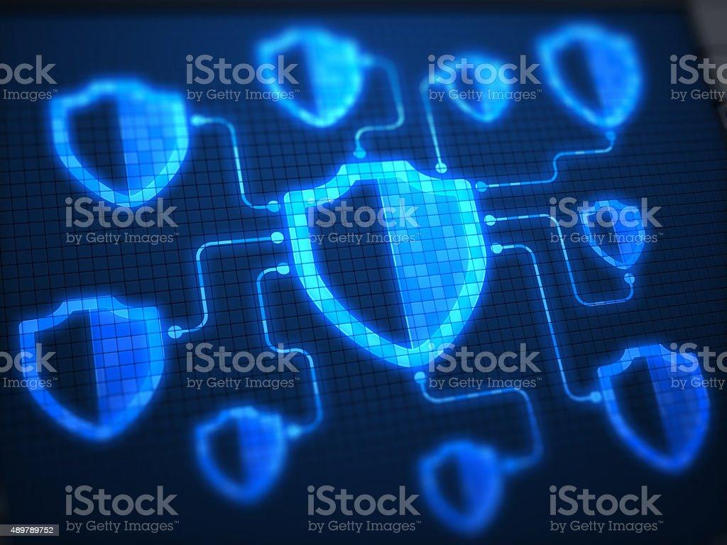Shields Secure on digital screen stock photo