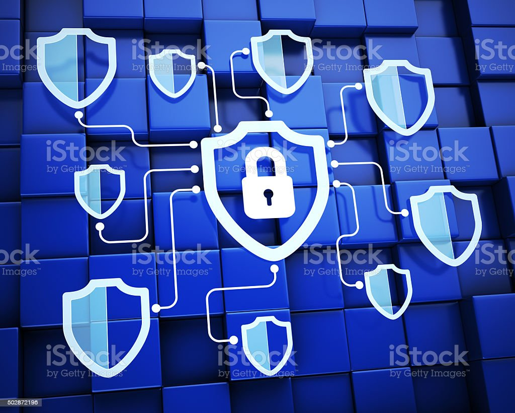 Shields. Secure system concept stock photo