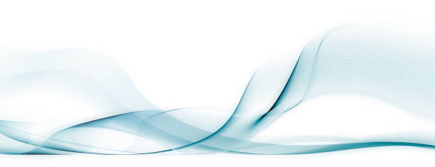 shifting light blue motion lines on white background - flowing stock pictures, royalty-free photos & images