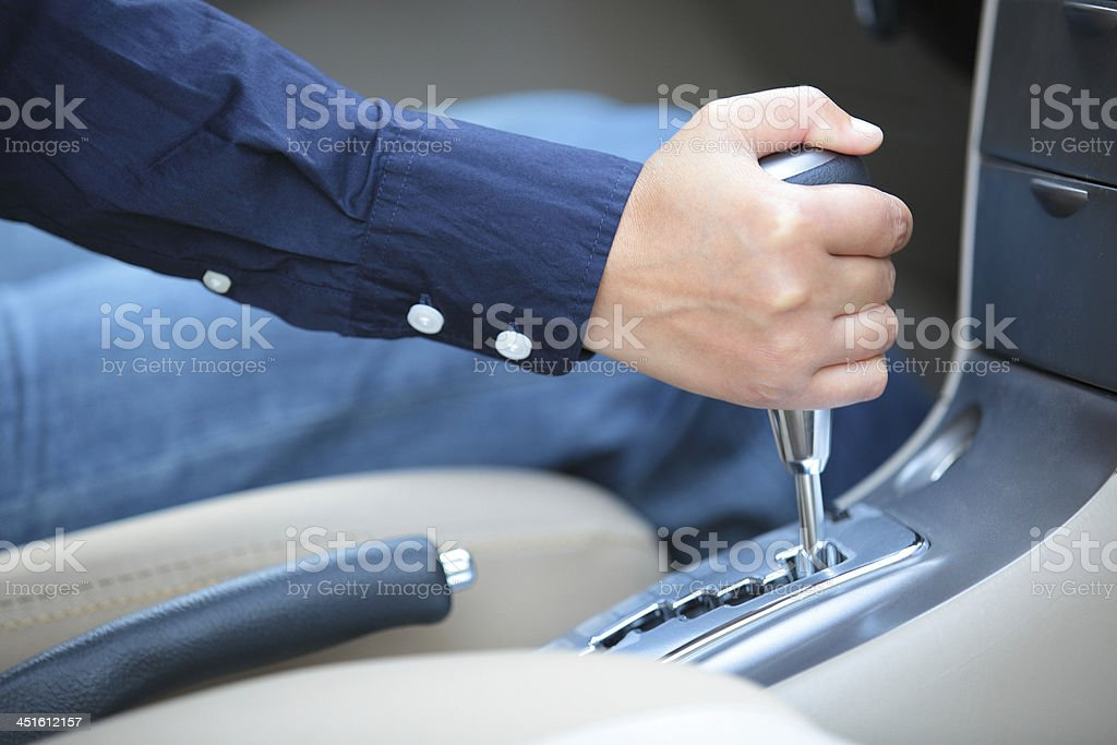 shifting the gear stick stock photo
