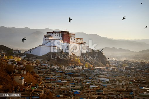 Ancient Shigatse at dawn, the second-largest city in Tibet, located about 280 km (170 mi) southwest of Lhasa  -is called the gateway to Everest