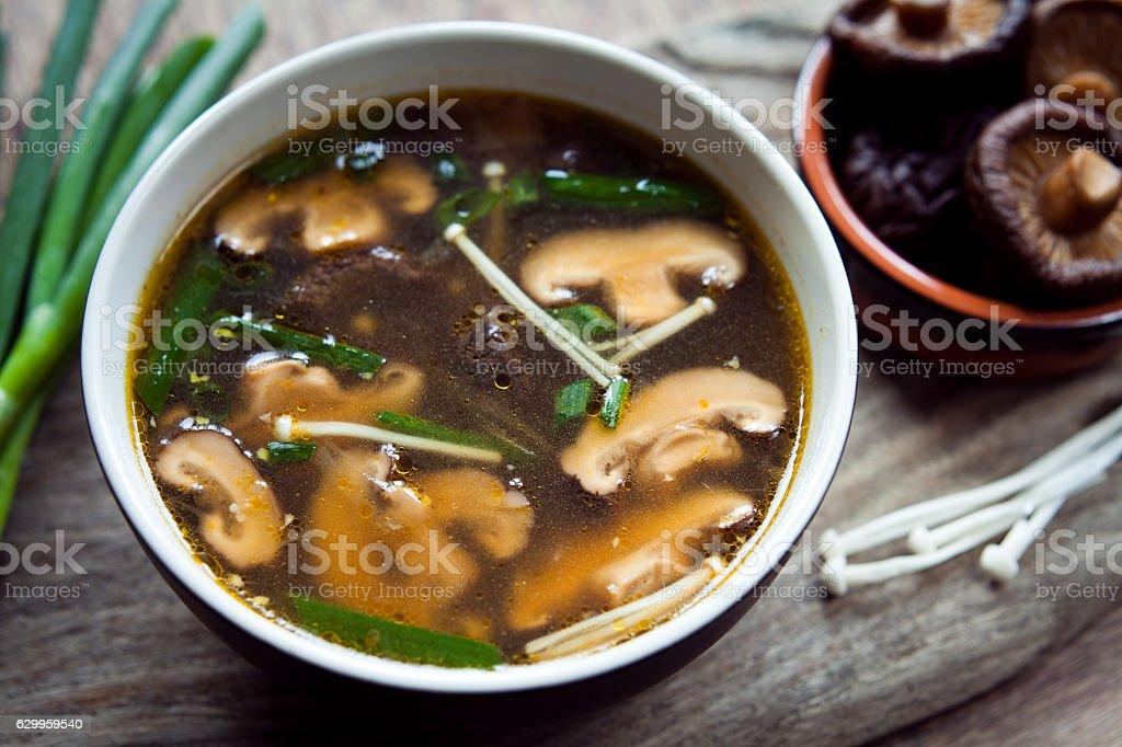Shiitake mushrooms Chinese soup. stock photo