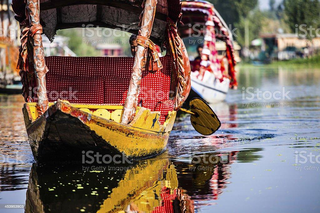 Shikara boat in Dal lake , Kashmir India stock photo