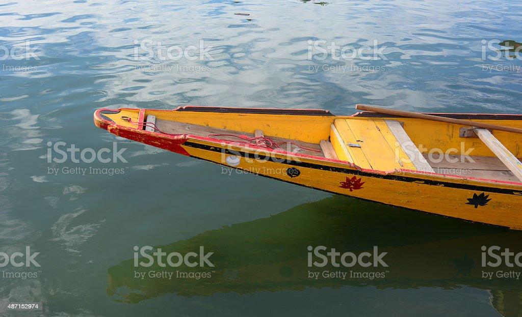Shikara boat on Dal lake, Srinagar stock photo