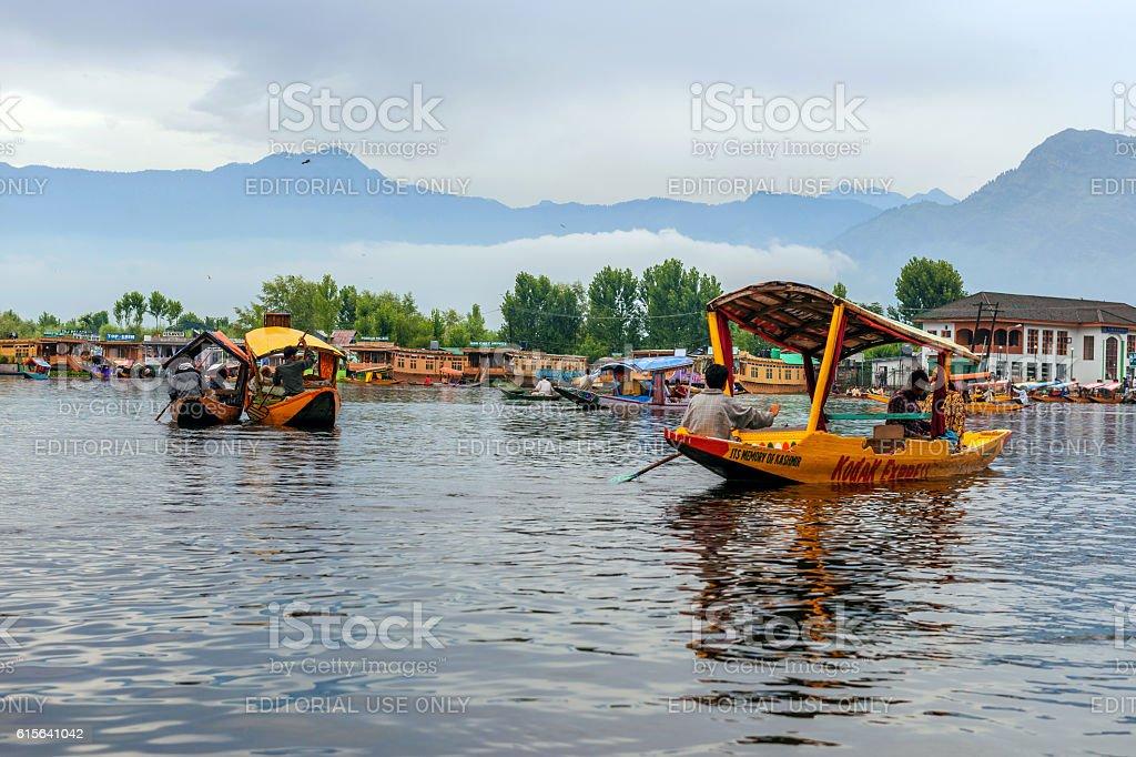 Shikara Boats on Lake Dal Srinagar, India stock photo