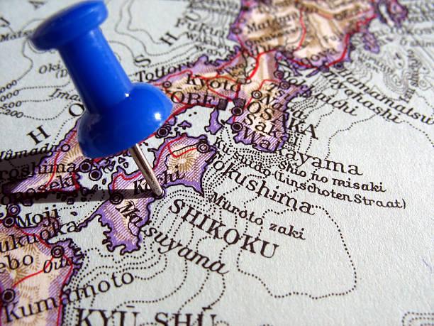 四国 - 日本 地図 ストックフォトと画像