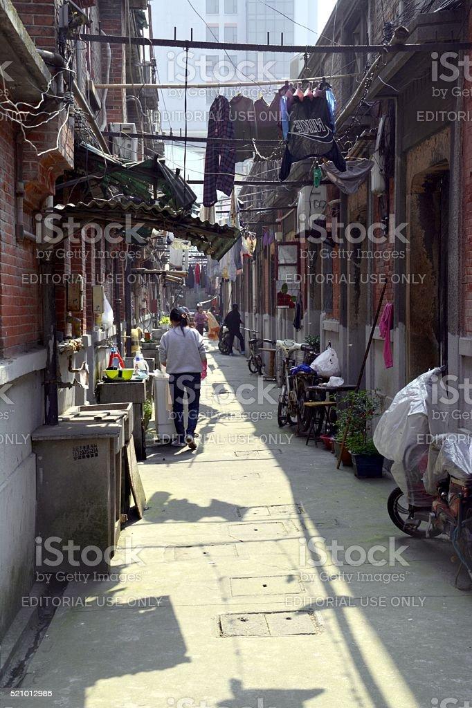 Shikumen alley in Hongkou district, Shanghai, China stock photo