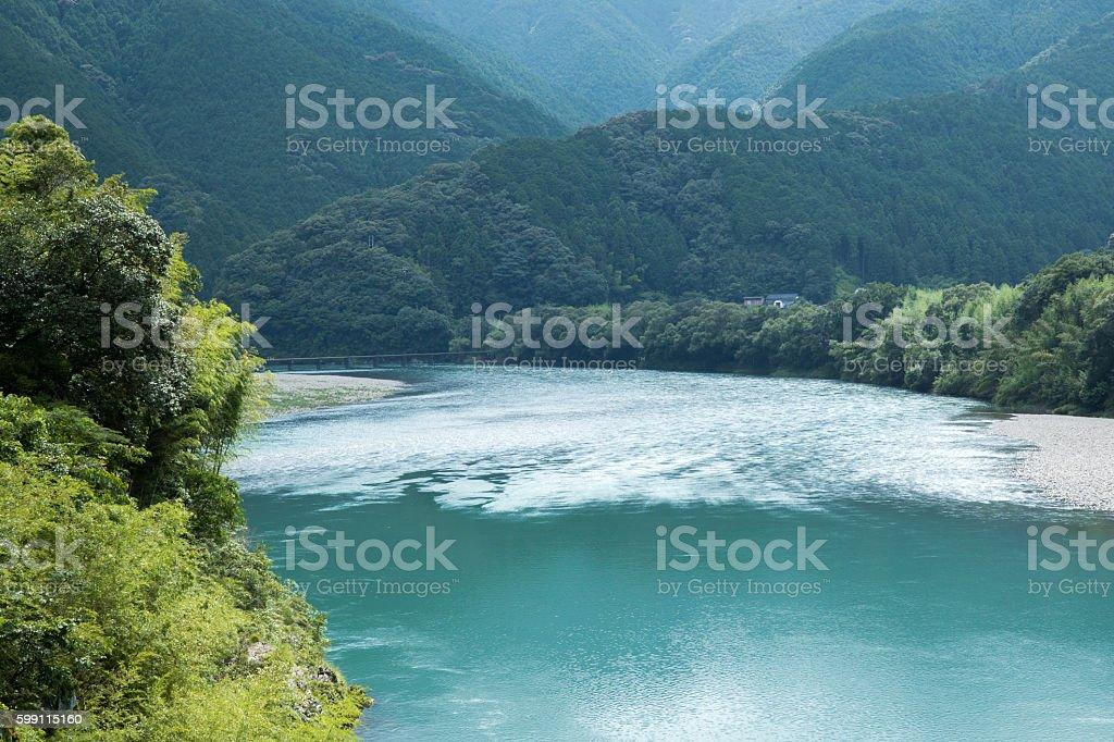 Shimanto river (Kochi Prefecture) in Japan stock photo