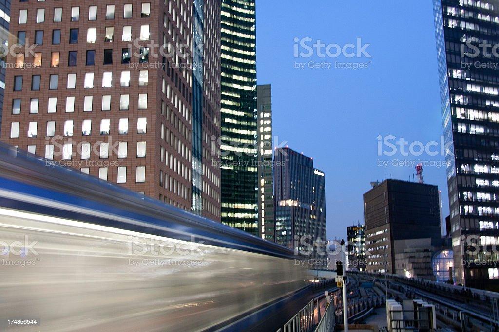 Shimbashi railway monorail Tokyo Japan royalty-free stock photo